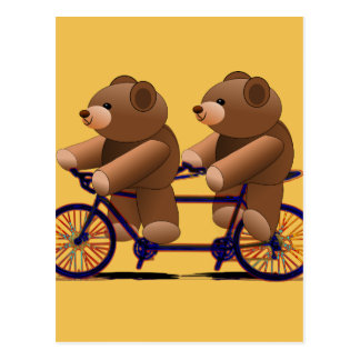 Bicycle Tandem, Teddy Bear Print Postcard