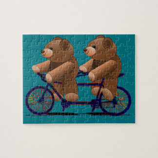 Bicycle Tandem Teddy Bear Print Puzzle