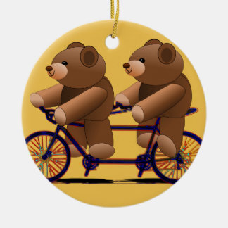 Bicycle Tandem, Teddy Bear Print Round Ceramic Decoration