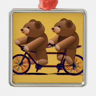 Bicycle Tandem, Teddy Bear Print Silver-Colored Square Decoration