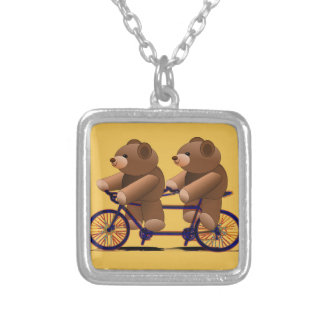 Bicycle Tandem, Teddy Bear Print Silver Plated Necklace