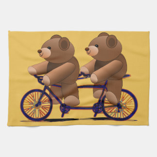 Bicycle Tandem, Teddy Bear Print Tea Towel
