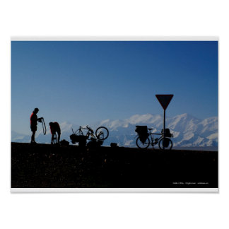 Bicycle touring in Kyrgyzstan Poster