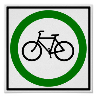 Bicycle Traffic Highway Sign Poster