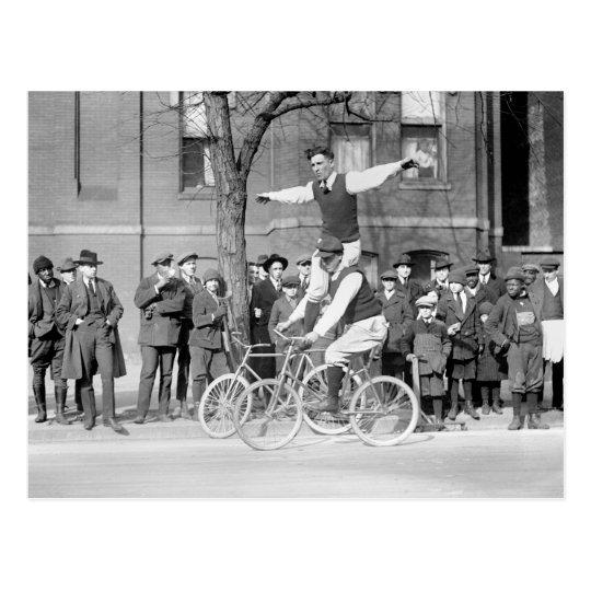 Bicycle Trick Riding, 1920s Postcard