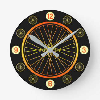 Bicycle wheel orange black round clock