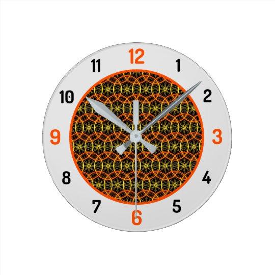 Bicycle wheel pattern orange black round clock