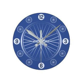 Bicycle wheels blue round clock