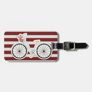 Bicycle with Basket of Flowers Luggage Tag