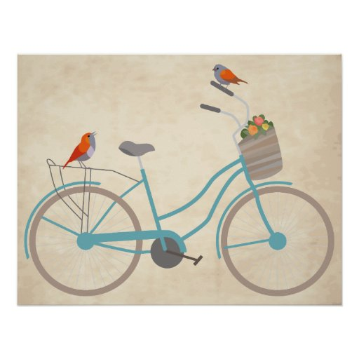 Bicycle with Birds Poster