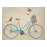 Bicycle with Birds Posters