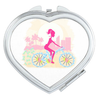 Bicycle with city compact mirror