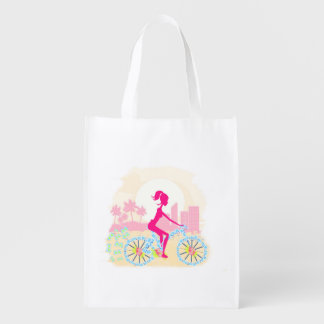 Bicycle with city Reusable Grocery Bag