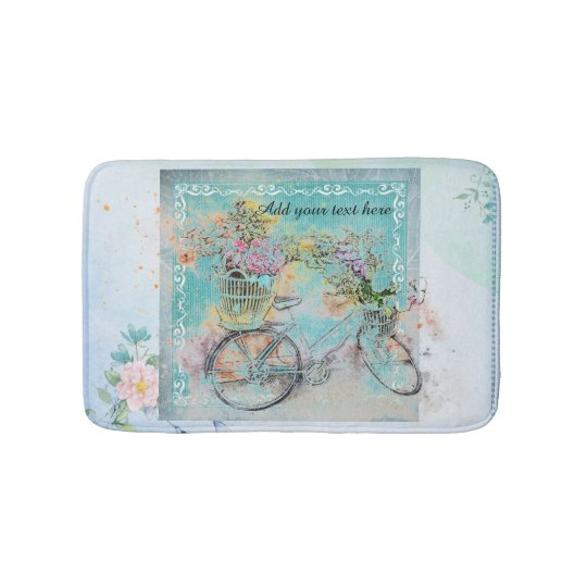 Bicycle with flower baskets on blue burlap bath