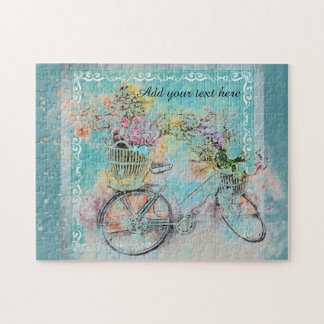 Bicycle with flower baskets on blue burlap jigsaw puzzle