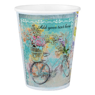 Bicycle with flower baskets on blue burlap paper cup