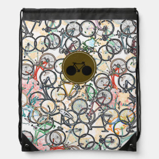 bicycles biking sport-themed drawstring bag