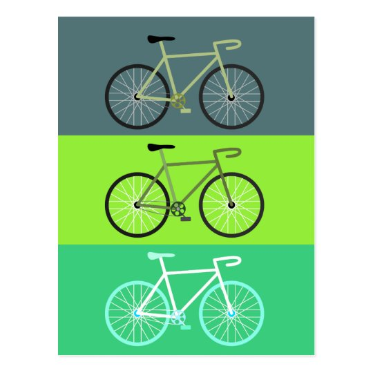 Bicycles - Green Postcard