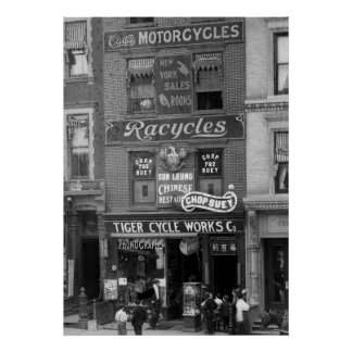 Bicycles, Motorcycles, and Chop Suey, early 1900s Poster