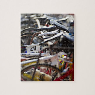 Bicycles on the rack at a triathlon race ready jigsaw puzzle