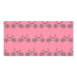 Bicycles pattern customized photo card