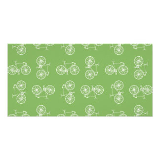 Bicycles seamless pattern customized photo card