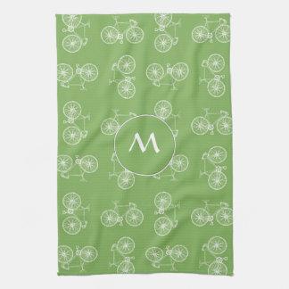 Bicycles seamless pattern tea towel