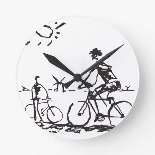 Bicycling Bike Sketch Round Clock