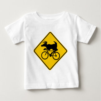 Bicycling Deer Crossing Highway Sign Baby T-Shirt