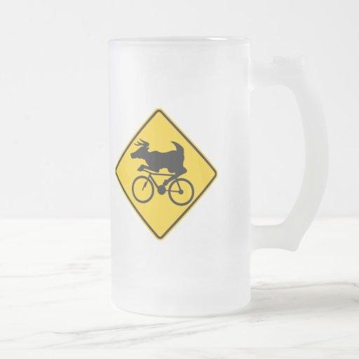 Bicycling Deer Crossing Highway Sign Mug