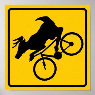 Bicycling Deer Crossing Highway Sign Poster