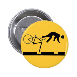 Bicycling on the Tracks - Road Sign 6 Cm Round Badge