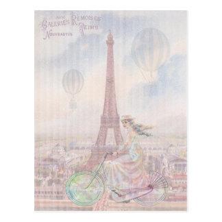 Bicycling through Paris Postcard