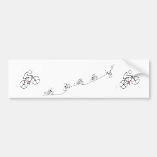 Bicyclist going over the hill bumper sticker