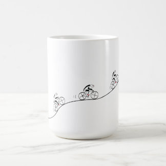 Bicyclist going over the hill coffee mug