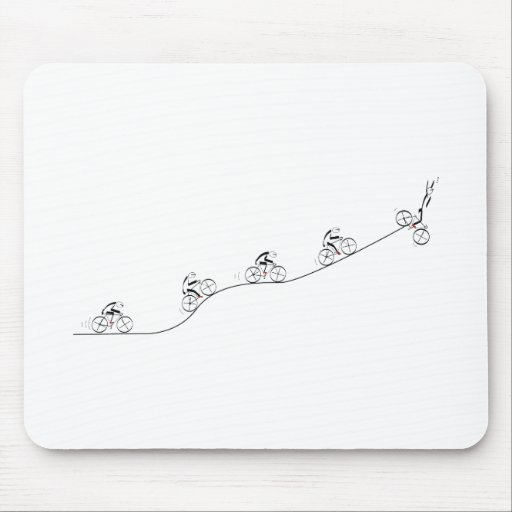 Bicyclist going over the hill mousepad