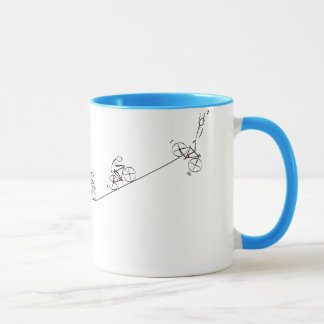 Bicyclist going over the hill mug