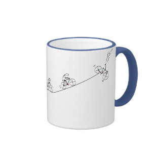 Bicyclist going over the hill ringer mug