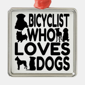 Bicyclist Who Loves Dogs Silver-Colored Square Decoration