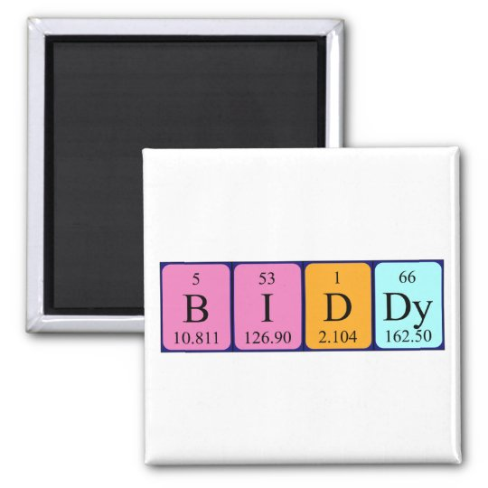 Biddy periodic table name magnet