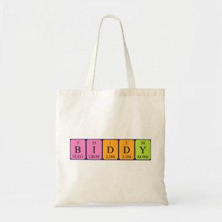 Biddy periodic table name tote bag