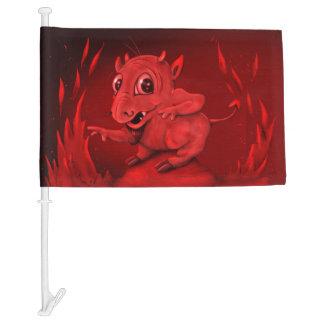 BIDI ALIEN DEVIL CARTOON Car Flag