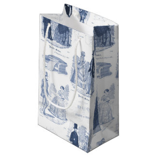 Biedermeier Blue Toile Elegant Vintage Fashion Small Gift Bag
