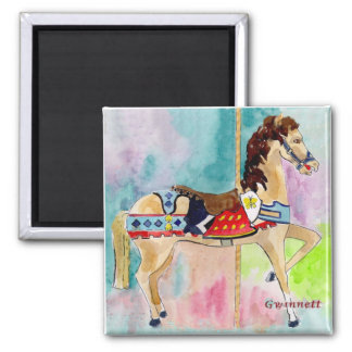 Biege Carousel Horse Square Magnet