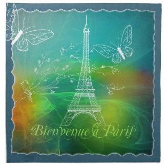 Bienvenue a Paris French Collage Eiffel Tower Napkin