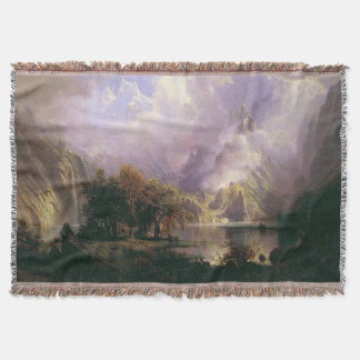 Bierstadt Rocky Mountain Landscape Throw Blanket