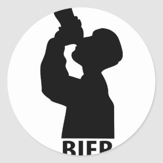 Biertrinker icon classic round sticker