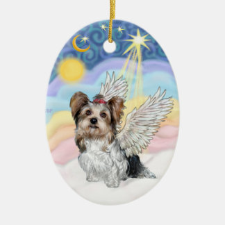 Biewer Yorkie Angel - Clouds #3 Christmas Ornament