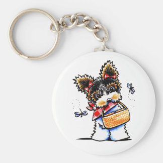 Biewer Yorkie Picnic Time Key Ring