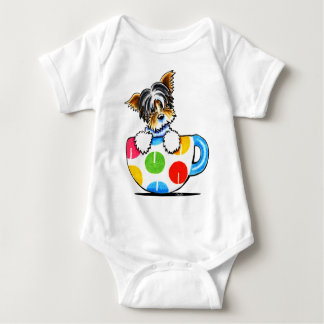 Biewer Yorkie Polka Dot Cup Baby Bodysuit